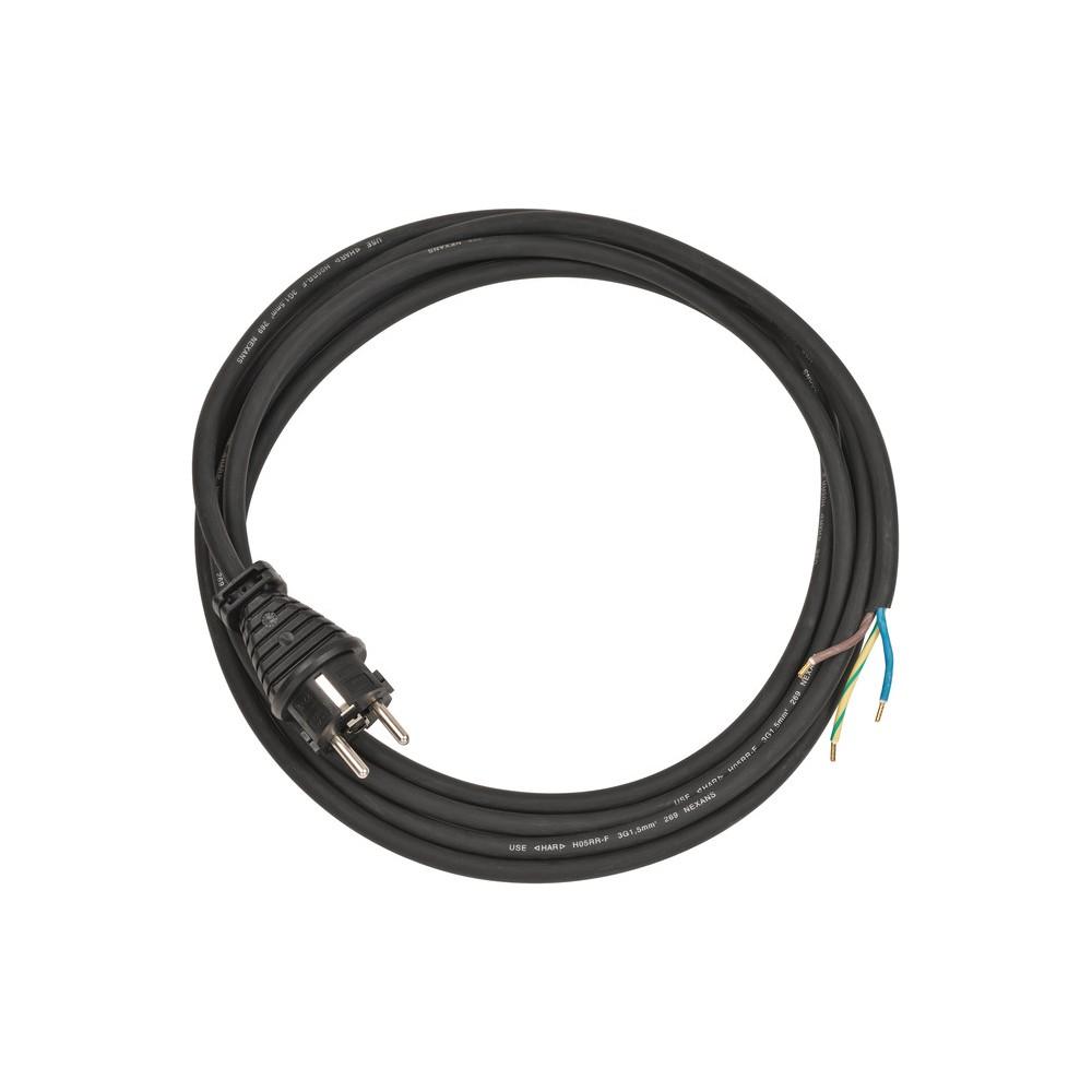 Przewód przyłącza 3 styki IP44 3m czarny H05RR-F 3G1,5mm²