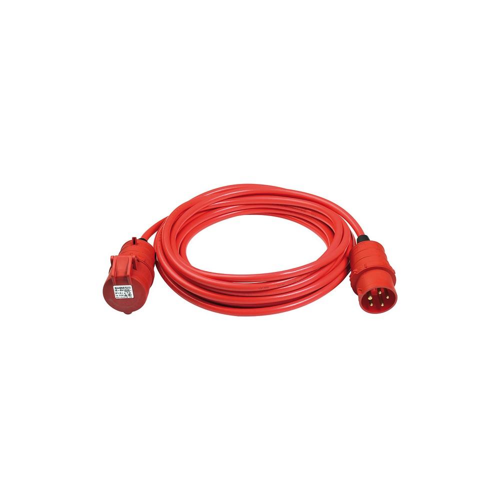 CEE Kabel przedłużający BREMAXX IP44 10m czerwony AT-N07V3V3-F 5G1,5mm², CEE 400V/16A 5 WTYKÓW