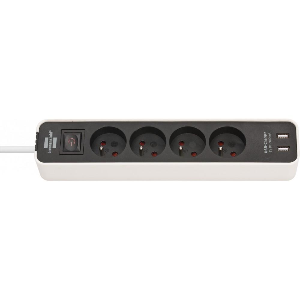 Ecolor Listwa zasilająca z USB 4 gniazda biało/czarna 1,5m