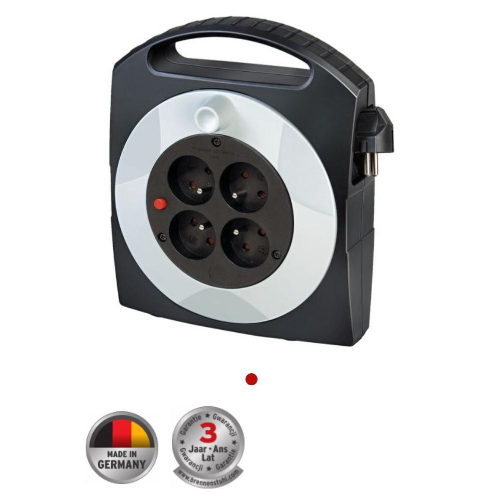 Kompaktowy przedłużacz zwijany Primera-Line Box 4-gniazda Czarny/Jasnoszary 10m