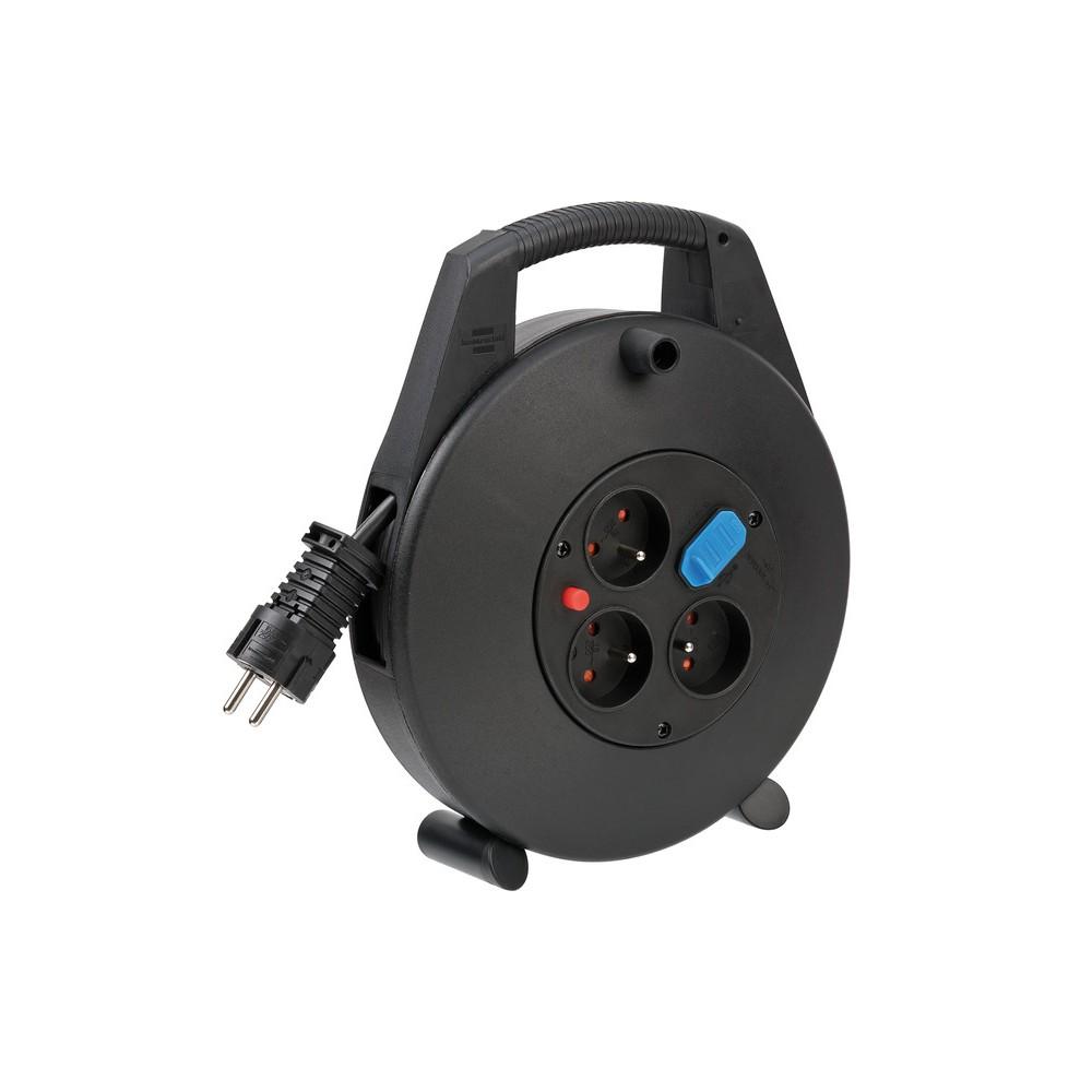 Kompaktowy przedłużacz zwijany Vario-Line Box z USB czarny 10m