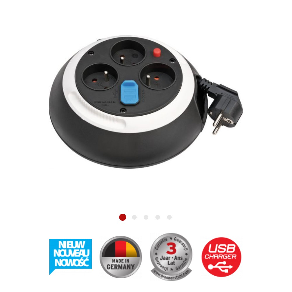 Kompaktowy przedłużacz zwijany Comfort-Line z USB czarne/biały 3m